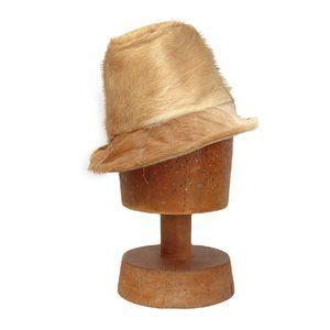 Vintage Deer Skin Fur Hat Tan Tall Crown Dip Brim